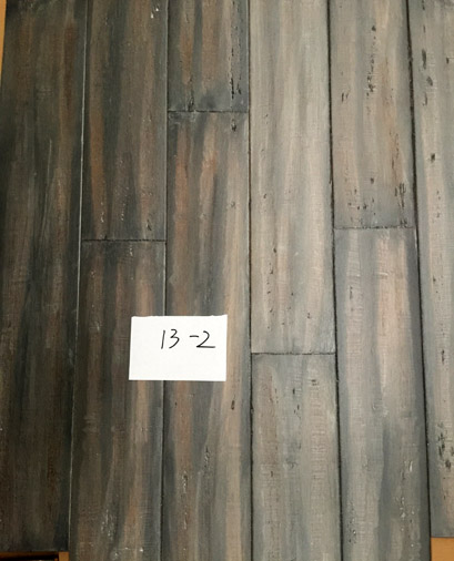 Smoke distressed strand woven bamboo flooring